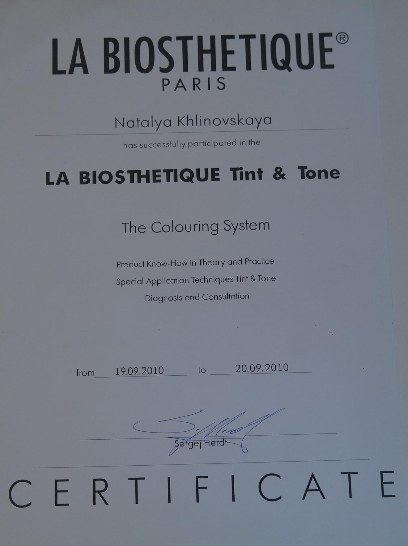 Колористика-система окрашивания La Biosthetique 2010