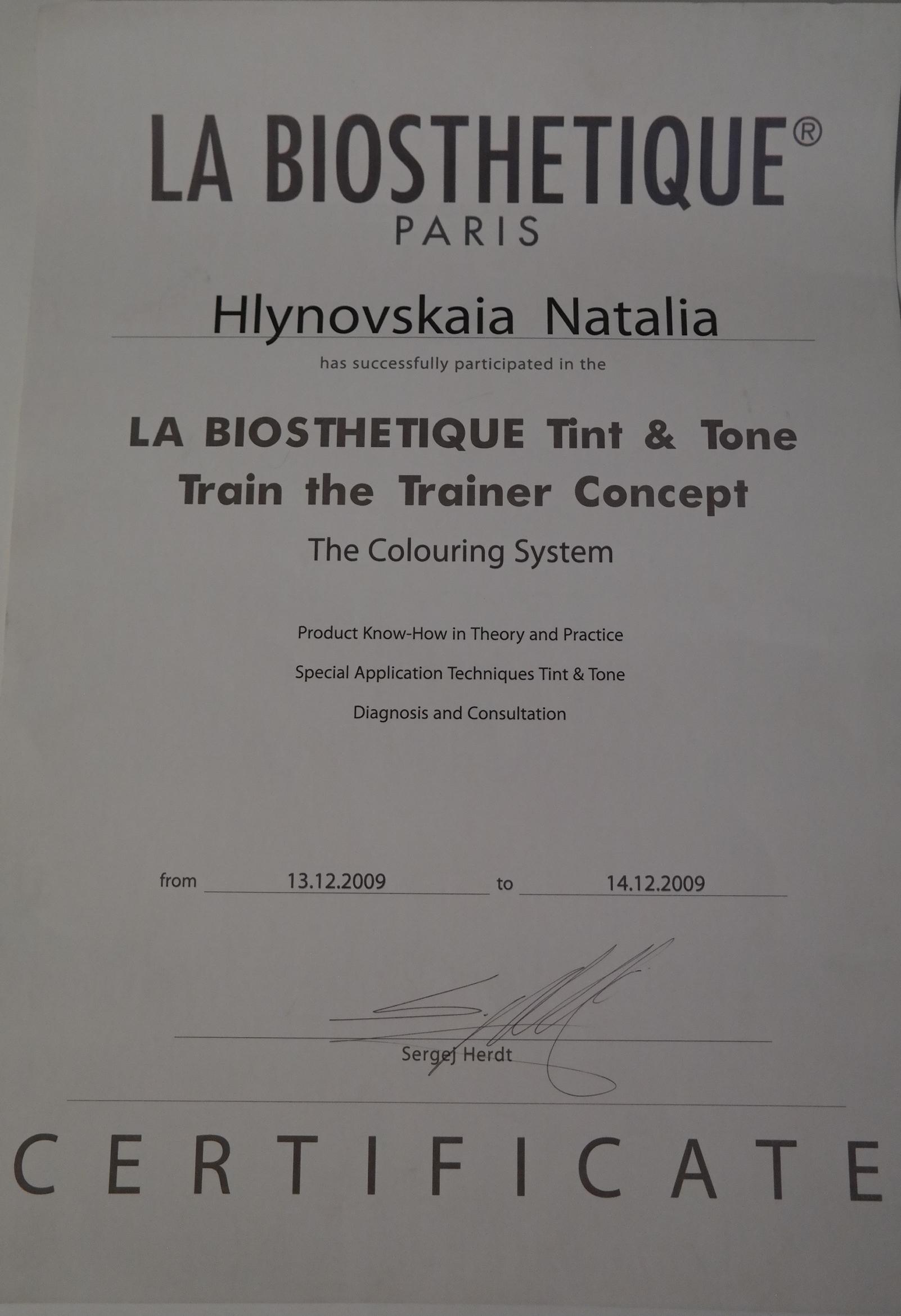 Тренер по колористике La Biosthetiqe